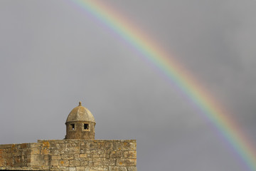 Old fortress wit rainbow