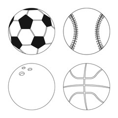 Isolated object of sport and ball icon. Collection of sport and athletic vector icon for stock.