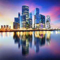 Moscow city, Russia. Moscow International Business Center at night