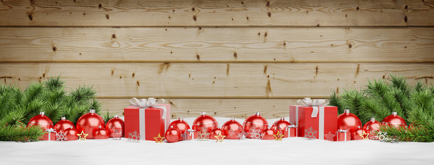 Red christmas baubles and gifts lined up 3D rendering