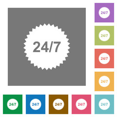 24 hours seven sticker square flat icons
