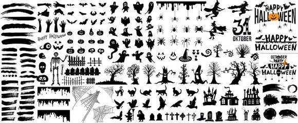 Set of halloween silhouettes black icon and character. Vector illustration. Isolated on white background. Fototapete