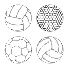 Vector design of sport and ball symbol. Set of sport and athletic vector icon for stock.