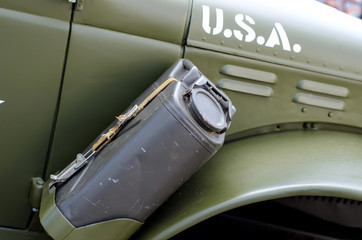 Gas canister in a car.