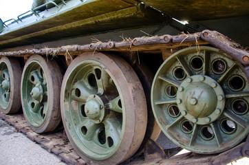 Tank tracks. Close up of a tanks caterpillar tracks.