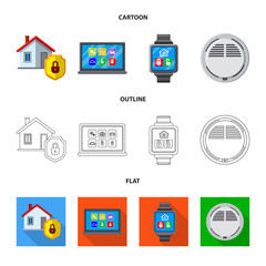 Vector illustration of office and house logo. Set of office and system stock symbol for web.