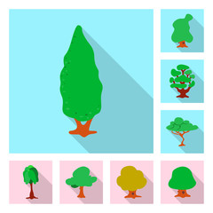 Vector design of tree and nature icon. Set of tree and crown stock vector illustration.