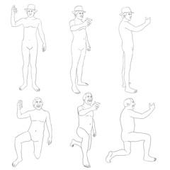 tracé, expression, homme, debout, à genou, verre à la main, figure, dessin au trait, model, silhouette, gens, modèle,