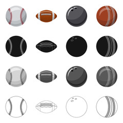 Isolated object of sport and ball icon. Set of sport and athletic stock symbol for web.