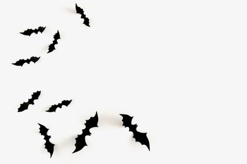 Halloween decorations concept. Halloween bats on white background. Flat lay, top view, copy space