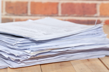 Business Concept, Pile of unfinished documents on office desk