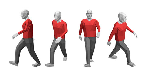 Walking low poly man. Isolated on white background. Vector illustration.