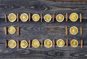 Beautiful Christmas composition on dark wooden background. Flat lay, top view
