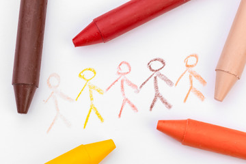 children's drawing with colored wax pencils close up