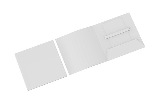 Blank white plastic card mockup inside paper booklet holder, mock up template on isolated white background, 3d illustration