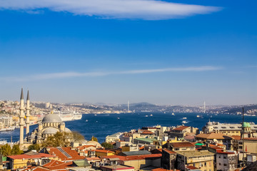 Istanbul, Turkey, November 10, 2010: Aerial view of the Bosphorus, taken from the roof of the Buyuk Valide Han.