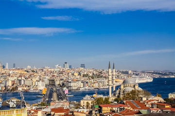 Istanbul, Turkey, November 10, 2010: Aerial view of the Galata Bridge, taken from the roof of the Buyuk Valide Han.