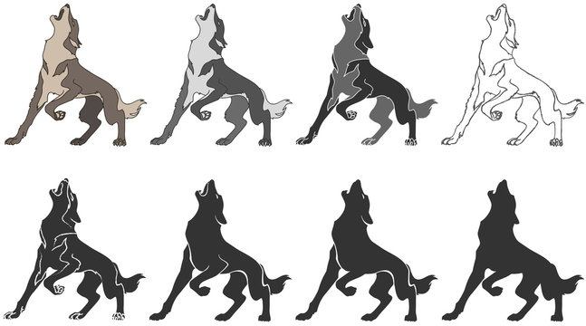 wolf howls - stylized image for your design. Vector illustration, isolated objects.