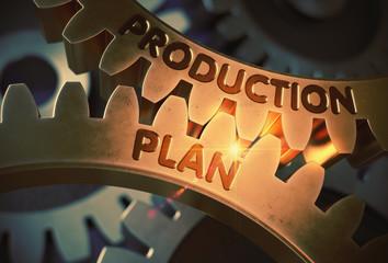 Production Plan Concept. Golden Gears. 3D Illustration.