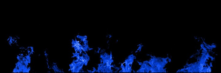 Real fire blue flames isolated on black background. Mockup on black of 5 flames.