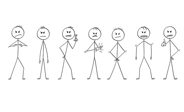 Cartoon stick drawing conceptual illustration of group or team of men or businessmen in angry poses. They are facing camera and showing different expression of anger.