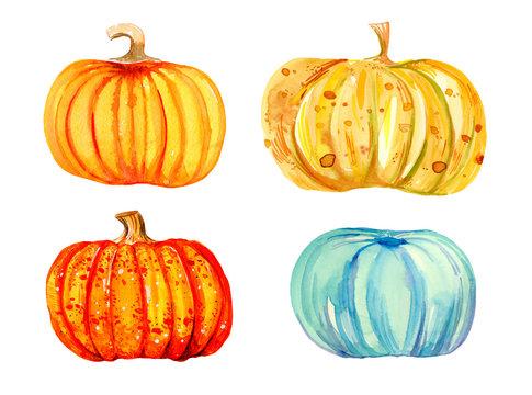 Stylized decorative cartoon pumpkins. Hand drawn watercolor set