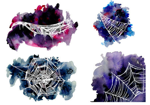 White spider web on dark blue and purple spots. Hand drawn watercolor set
