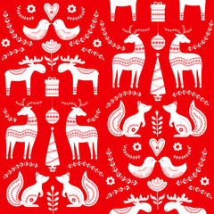 Scandinavian seamless folk art  hand drawn pattern, Nordic style. Vector illustration