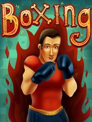 Cartoon boxing man illustration