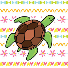 Cute cartoon doodle sea turtle illustration