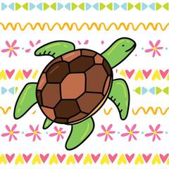 Cute cartoon doodle sea turtle illustration