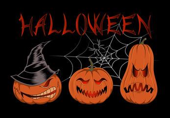 Pumpkins with cobwebs on a black background.