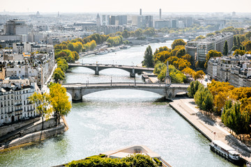 Aerial panoramic view of Seine river from the Notre-Dame cathedral during the morning light in Paris