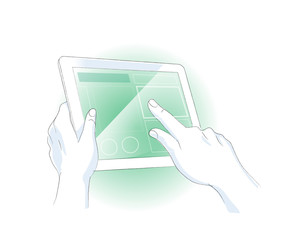 Hands interact with the table touchscreen