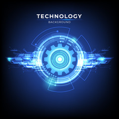 Abstract digital technology hi tech concept background with Gear. vector illustration.