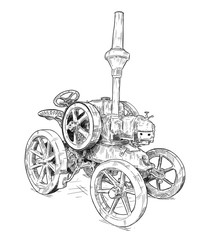 Fototapete - Vector artistic pen and ink drawing of old tractor. Tractor was made in Germany in 1923 or 20's.