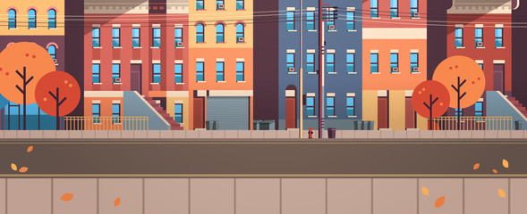 city building houses view autumn street leaves fall real estate flat horizontal banner vector illustration