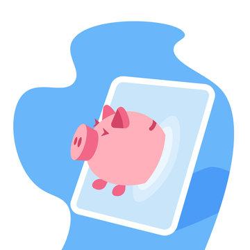 Tablet screen piggy bank online application money