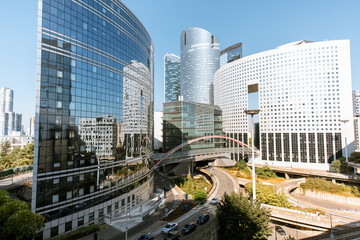 Fototapete - Morning view of La Defense financial district with beautiful skyscrapers in Paris