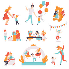 Cute little kids celebrating their birthday set, children recieving gifts and having fun with their friends at birthday party vector Illustration on a white background