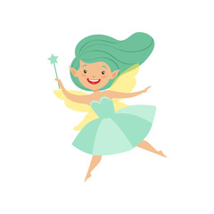 Cute beautiful little winged fairy, lovely girl with long hair and dress in turquoise colors vector Illustration on a white background