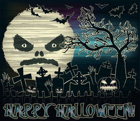 Happy Halloween banner with moon and cemetery , vector illustration