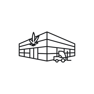 Warehouse Supply Centre Distribution vector black line art symbols on white background for commercial business medical marijuana cannabis health services website