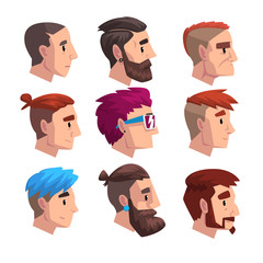Head of young man with fashion hairstyles set, profile of guys with trendy haircuts vector Illustration on a white background