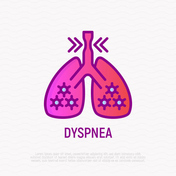 Dyspnea thin line icon. Modern vector illustration of shortness breathing in lungs.