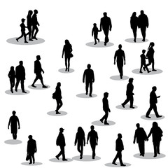 vector, on white background, black silhouette of walking people