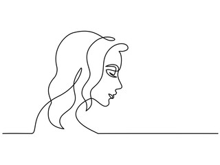 Continuous one line drawing. Abstract portrait closeup of pretty young woman. Vector illustration