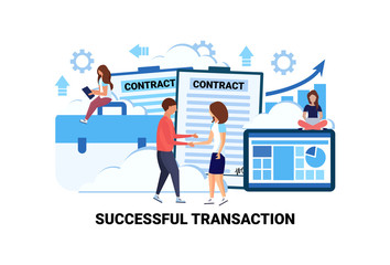businessman woman handshake after sign up contract successful transaction concept agreement business collaboration couple communication flat horizontal vector illustration