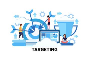 Target business goal targeting concept flat horizontal successful teamwork strategy vector illustration