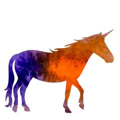 white background, watercolor silhouette unicorn